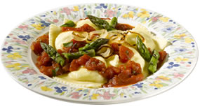 Ravioli Pomodoro & Grilled Asparagus